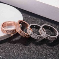Ring S925 Sterling Silver Full Sky Star Three Row Diamond Love Couple Plated with 18k Rose Gold Screw Fashion Pair