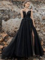 Vintage Black Wedding Dresses Bridal Gowns A Line Sexy Backless Split Side Long Gothic Bride Dress Appliques Lace Floral Beads Vestido De Novia