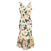 2021 새로운 여름 긴 드레스 동백 프린트 실크 노란 꽃 연꽃 잎 인어 스커트 시칠리아 화려한 고급스러운 gwwn