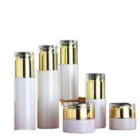 Storage Bottles & Jars 20~80ML Empty Glass Mist Spray Bottle White Refillable Emulsion Lotion Pump Gold Acrylic Lid 20 30 50G Cosmetic Cream