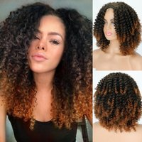 Synthetic Wigs LINGHANG 14inches Afro Kinky Curly Wig Short Mixed Blonde For Black Women Daily