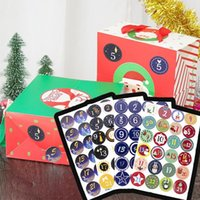 Christmas Decorations 24pcs Round Number 1-24 Adhesive Sticker Advent Calendar Stickers Cards Kids Gift Envelopes Candy Bag