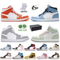 Com caixa 2021 prototype 1s homens sapatos de basquete jumpman 1 alta OG luz fusão vermelha hyper real pêssego mocha escuros treinadores torcer obsidian un Unc Womens sneakers
