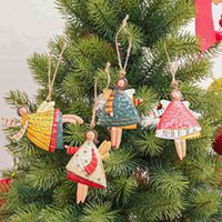Angel Metal Christmas Tree Decorations Cute Iron Girls Shape Xmas Pendants for Home Shop Office School Natal Kids Gifts New Year