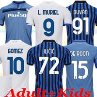 20 21 Atalanta Casa Azul Branco Gosens Adulto Jerseys Gomez 2020 2021 L.Muriel Ilicic de Roon Duvan Atalanta Camisa de Futebol Uniforme