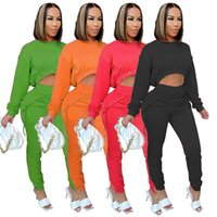 Fashion Womens 2 Two Piece Pants suits solid color tracksuits casual sportswear long sleeve short t shirt bandage loose trouser outfits set plus size clothing