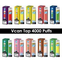 ORIGINAL Vcan top descartáveis cigarros eletrônicos 4000 sopros malha enorme vapor enorme com RGB luz de ar de ar ajustável vape caneta dispositivo recarregável bateria 10 cores