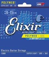 1 مجموعة Elixir 12000 Elixir الكهربائية Polyweb سوبر ضوء سلاسل الغيتار 009-042