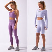 Piece Four Suit New Long Sleeve Shorts Shark Knitted Seamless Slim Fit Sports