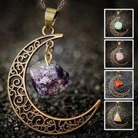 Vintage Galaxy Mond Naturstein Transparente Opal Halskette Anhänger Kristall Halbmond Purpurrote Antike Bronze lila Halskette