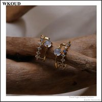 Stud 2021 Summer French Retro Small Cute Exquisite Cold Wild Double Blue Opal C-shaped Women's Earrings Jewelry Wedding Gift