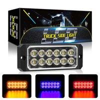 12-24V 앰버 / 화이트 6 LED 사이드 마커 플래시 비상 스트로브 라이트 바 키트 견인 트럭 울트라 슬림 6-LED 자동차