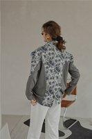 2021 Yeni Jakarlı Patchwork Gri Kadın Sonbahar Ceket Ve Coat Suit Çiçek Desinger Yüksek Moda Bayanlar Blazer 167x