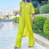 Women's Two Piece Pants Solid Color Fashion Loose Cotton Linen Wide Leg Two-piece Set Women Skirt Summer Sets 2021