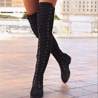Boots 2021 Winter Women's Fashion Sexy Lace Up Knee Woman Suede Long Zipper Warm Short Plush Botas Mujer D1365