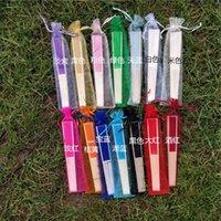 Festa favor 100 pçs / lote 14 cor personalizar dobrar o ventilador de seda elegante de seda com saco de presente multicolorido