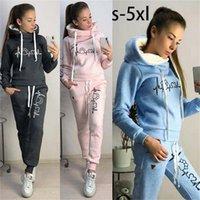 Women's Hoodis & Swatshirts Conjunto d agasalho duas pças fminino, blusão lã com capuz casual calça para outono primavra 6X4O