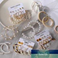 New Fashion Pearl Dangle Drop Korean Earrings for Women Statement Geometric Big Round Pearl Hoop Earrings Fashion Jewelry Factory price expert design Quality