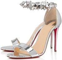 Luxuriöse Sommermarken frauen rote boden boden planetava sandalen knöchel stecker elegante designer dame high heels rote sohle sandalias mujer