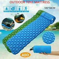 Outdoor Pads Upgraded Ultralight Inflatable Sleeping Mat Camping Air Pad Roll Bed Mattress With Pillow185*58cm