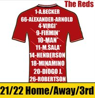 The Reds Soccer Jerseys Player Version 2021/22 Hommes Kit Kids Alexander-Arnold Henderson Shirts Fabinho Milner Robertson Diogo J Jersey Camiseta de futbol