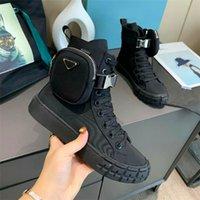 Roda Re-Nylon Designers de Luxo Sapatos Homens Mulheres High-Top Sneakers Bolsa de Nylon Couro de Couro de Algodão de Algodão 14 cm Bota de Boot Perna Causal Shoe Shoe Tamanho 35-44