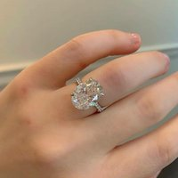 Cluster Rings Solid Real LUXURY Vintage 925 Sterling Silver Big For Women Wedding Engagement Finger Jewelry Personalized R4588S