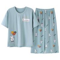 Кролик Hawk Brand 2021New Pajamas Набор летних хлопка Женщины сладкий мультфильм с коротким рукавом из двух частей для домашних одежды женщин шорты Pajama 210305