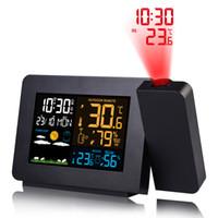 المنبه الرقمي محطة الطقس درجة الحرارة درجة الحرارة والرطوبة توقعات الطقس LED قيلوزي متر مع الوقت ساعة متعددة الوظائف