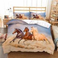 Bedding Sets Luxury 3D Horse Animal Print Kids Duvet Cover Pillowcase Home Textile Queen And King AU EU UK US Size Bedclothes