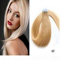 Ruban à Remy Remy Human Hair Extensions Remy Hair Droit Invisible Skin Plan ruban adressé sur les extensions de cheveux