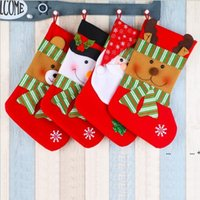 Christmas supplies gift bag decorations pendant giving sack socks ornaments High-end striped large red and green snowman snow FWE9618