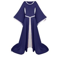 Casual Dresses mittelalterlich Retro GOTHED Court Dress Frauen Hoodie Square Hals Lace Up Flare Sleeve Große königliche Lady Ball Vestido