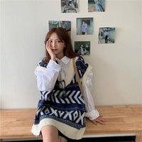 V-Neck sem mangas Sweater Colete versão coreana do novo outono e inverno Loose-Size Solta Retro Worn-Out Tide Jaqueta de malha.