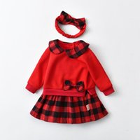 Girl's Dresses Kids Princess Dress Plaid Girls Birthday Toddler Baby Elegant Wedding Party Clothes Children Baptism Outfits With Hairband