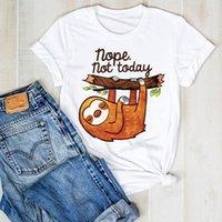 Женская леди ленивая лето напечатана NOPE забавный мультфильм дамы T Tee Tshirt женские женские топ-рубашки одежда графическая одежда футболка