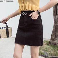 Skirts Fashion Black White Denim Summer Kawaii Mini Skirt High Waist Stretch Saia Jeans Button A-line Ladies