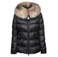 المرأة النايلون قصيرة أسفل سترة سستة إغلاق حزام جيوب سميكة معطف دافئ إيطاليا مصمم امرأة الفراء هود الشتاء أبلى