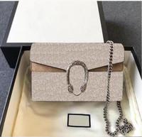 2020 جديد أزياء عالية الجودة السيدات ديونيسوس مصغرة سلسلة قماش جلد طبيعي النمر رئيس إغلاق رفرف حقيبة الكتف حقيبة كتف حقيبة
