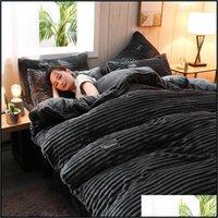Supplies Textiles Home & Gardenthickened Flannel 4Pcs Bedding Luxury King Size Comforter Set Sets Coral Plush Duvet Er Bed Sheet Warm Winter
