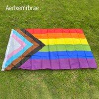 Bandeira Bandeiras Aerlxemrbras Arco-íris Bandeira 150x90cm 100D Poliéster Órgets LGBT Gay Rainbow Progress Flag