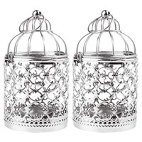 Mały dekoracyjny tealight latarnia rocznika birdcage stylu dekoracji stołu z party 2 paczka (srebro)