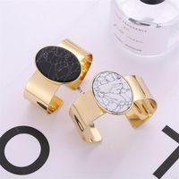 Fashion Gold Color Black White Turquoise Stone Cuff Bangle Bracelet for Women