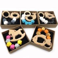 Schnullerinhaber Baby-Kettenklammern Entwöhnung natürliche hölzerne Praxis Spielzeug DIY Säuglingsfuttermittel Tier Silikon Kinderkrankheiten B7303