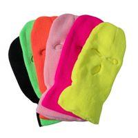 Radkappen Masken volle Gesichtsabdeckung Ski Maske Hut 3 Löcher Armee CS Winddicht Strickmützen Motorhaube Winter Warm Unisex