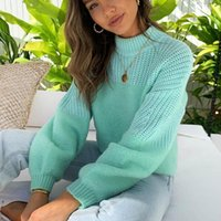 Women's Sweaters Arrivals Autumn Solid Color Sweater Stitching Loose Pullover Casual Sleeve Knitted Christmas Winter