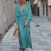 2021 Avrupa, Amerika, İlkbahar ve Yaz, VA VA VAOO'ların Yeni Derin V Göğüs Baskı Elbise Kadın Bölünmüş Elbise