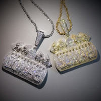 Iced Out Letters IN CASH WE TRUST Pendant Necklace For Men Women Micro Pave Zircon Necklaces Hip Hop Jewelry Y1119