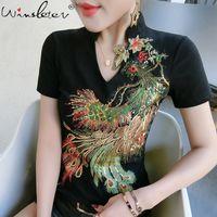 Pamuk Kadın T-Shirt Casual Phoenix Payetli Tops Tee Yaz Kadın Kısa Kollu V Boyun T Gömlek Kadın Giyim T03719B 210310