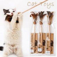 1 قطع حار بيع القط لعب جعل القط عصا ريشة مع جرس صغير catnip molars الكرة مثل الطيور لون عشوائي أسود القطب الملونة